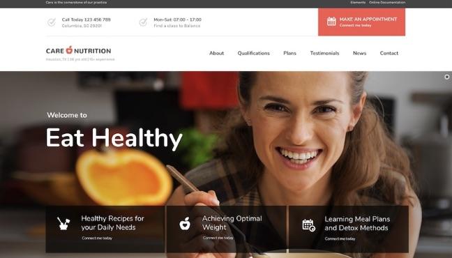 Mẫu website dinh dưỡng care nutrition