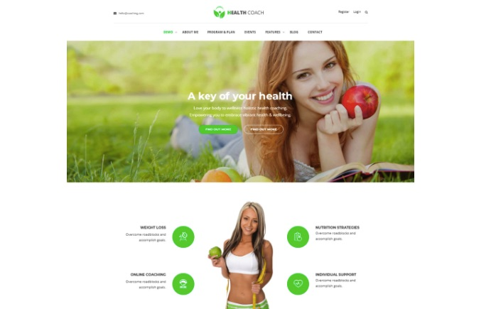 Mẫu website dinh dưỡng Healthcoach