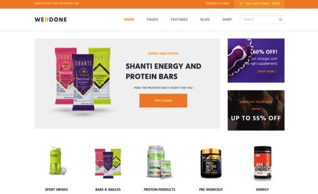 Mẫu website dinh dưỡng welldone
